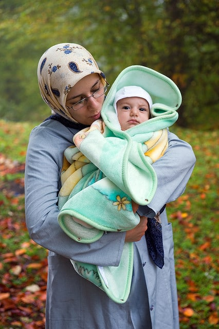 muslim mother and baby